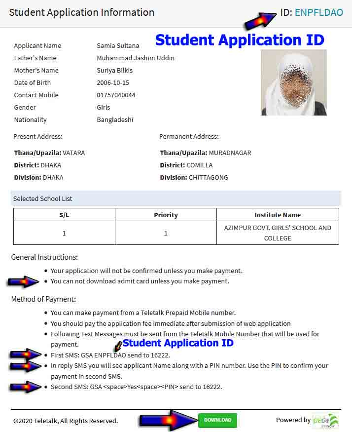 gavt high school aplication form download