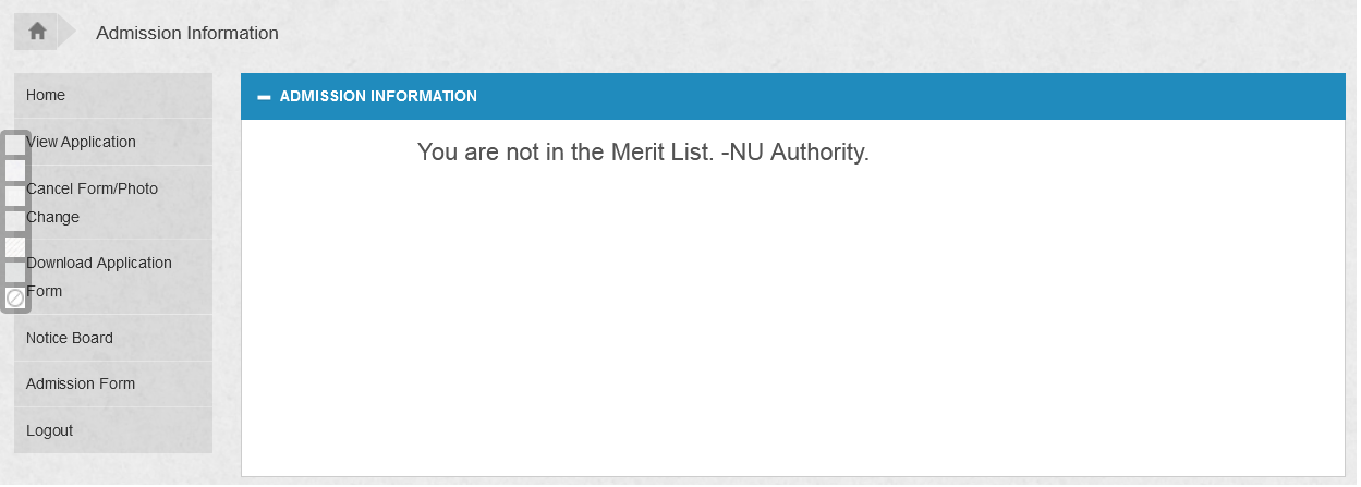 nu admission result you are not in the merit list